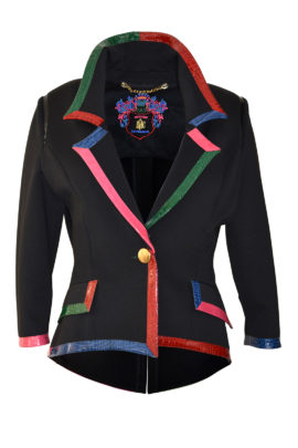 Jacke, schwarz, asymmetrisch mit Einfassung in Multicolor-Krokoleder, Pattentaschen
