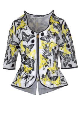 Couture-Jacke mit gestickten und applizierten Schmetterlingen, dreierlei Leder, Multisize