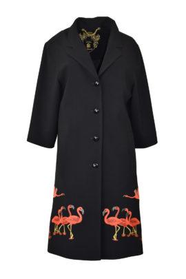 """Mantel mit """"flamingo-embroidery"""", Revers und Taschen"""