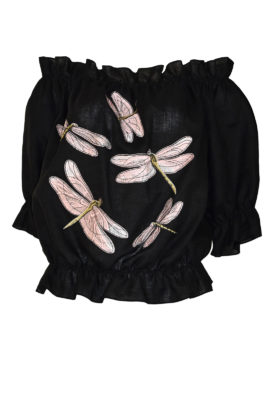 """Carmenbluse mit """" dragonfly-embroidery"""", Leinen"""