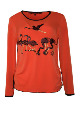 "Shirt mit ""flamingo-embroidery"", Langarm"