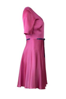 Kleid, Glockenform, Seidensatin, pink