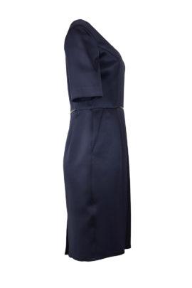 Kleid, Tulpenform, Seidensatin, mit Lackschleife, navy