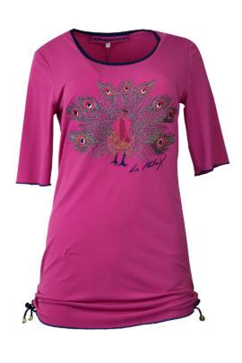 """Longshirt mit """"pfau-embroidery"""", Kontrast Einfassung, Kurzarm"""