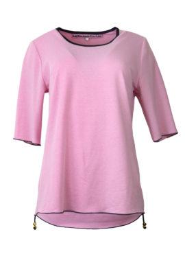 Shirt, uni mit Kontrasten,Kurzarm