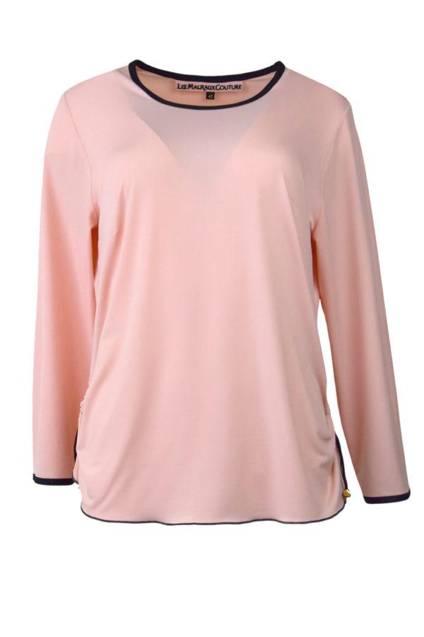 Shirt, uni mit Kontrast Einfassung, Langarm