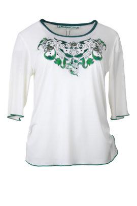 """Shirt mit """"ornament-emboidery"""" und Kristallen, Kurzarm"""