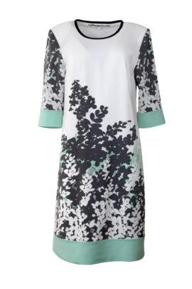 Tunika-Kleid, Reine Seide handbemalt mit Jersey Kontrasten