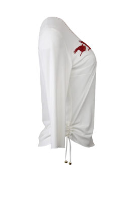 "Shirt mit ""crow-embroidery"", Kontrast Einfassung, Kurzarm"