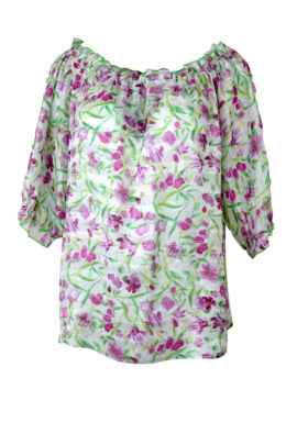 Bluse, floral Rosenquarz-grafith, Reine Seide