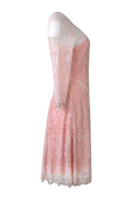 Kleid, elastische Spitze, appliziert mit Perlen in 3 Größen