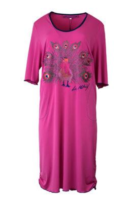 """Kleid mit """"Pfau-embroidery"""", over sized,Jersey, mit Kontrasteinfassung"""