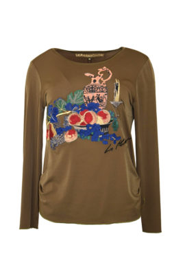 """Shirt, mit multicolor """"still-life-embroidery"""", Langarm"""