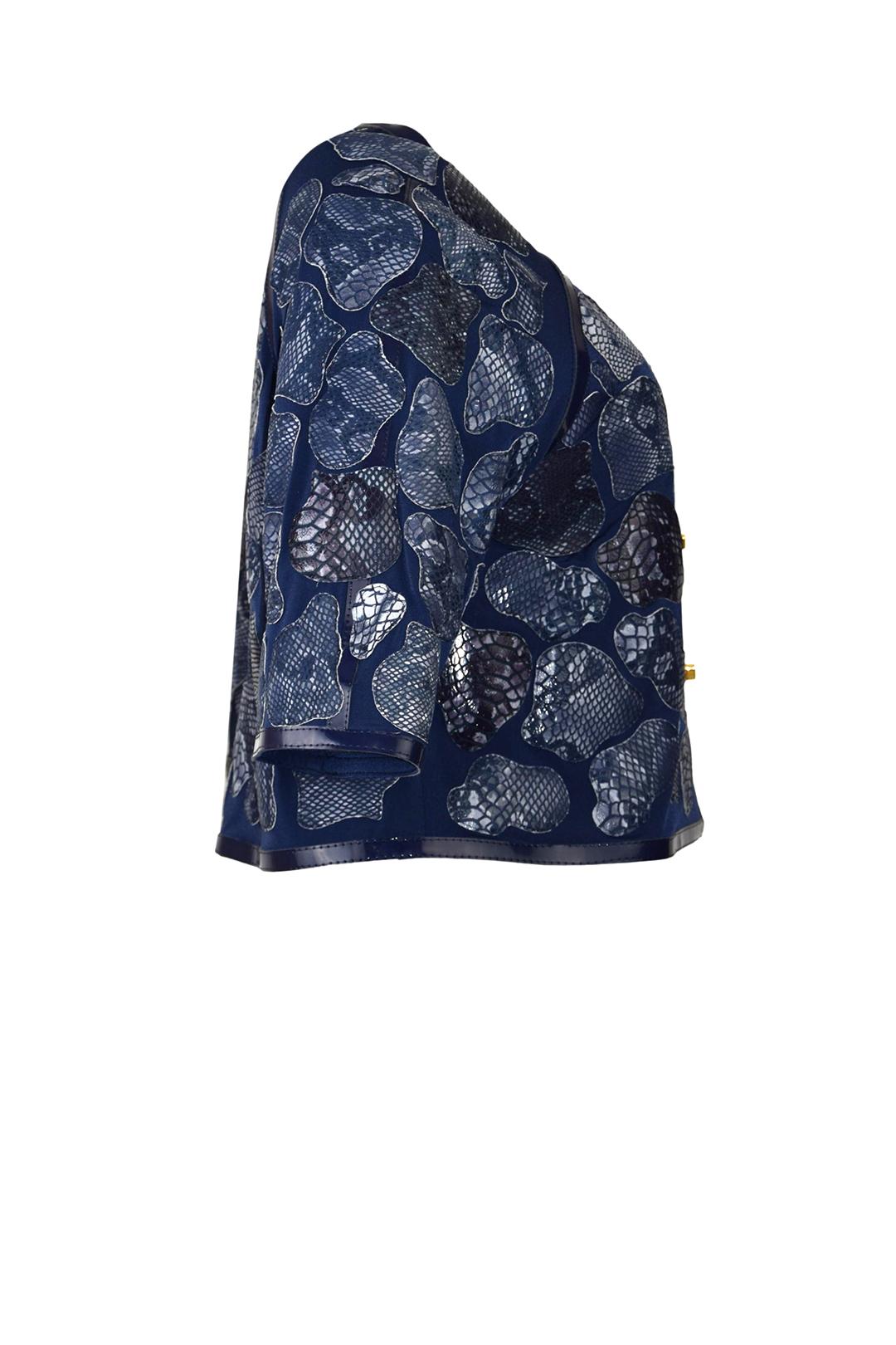 Jacke, A-Linie, cobra-blue Leder, mit Lackkontrasten