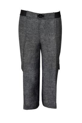 7/8-Hose, Leinen, graphit-melange mit aufgesetzten Cargo-Taschen