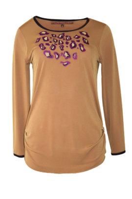 "Shirt mit ""maxi-leo-embroidery"", Langarm"