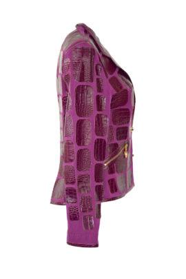 Krokojacke mit Revers und Taschen
