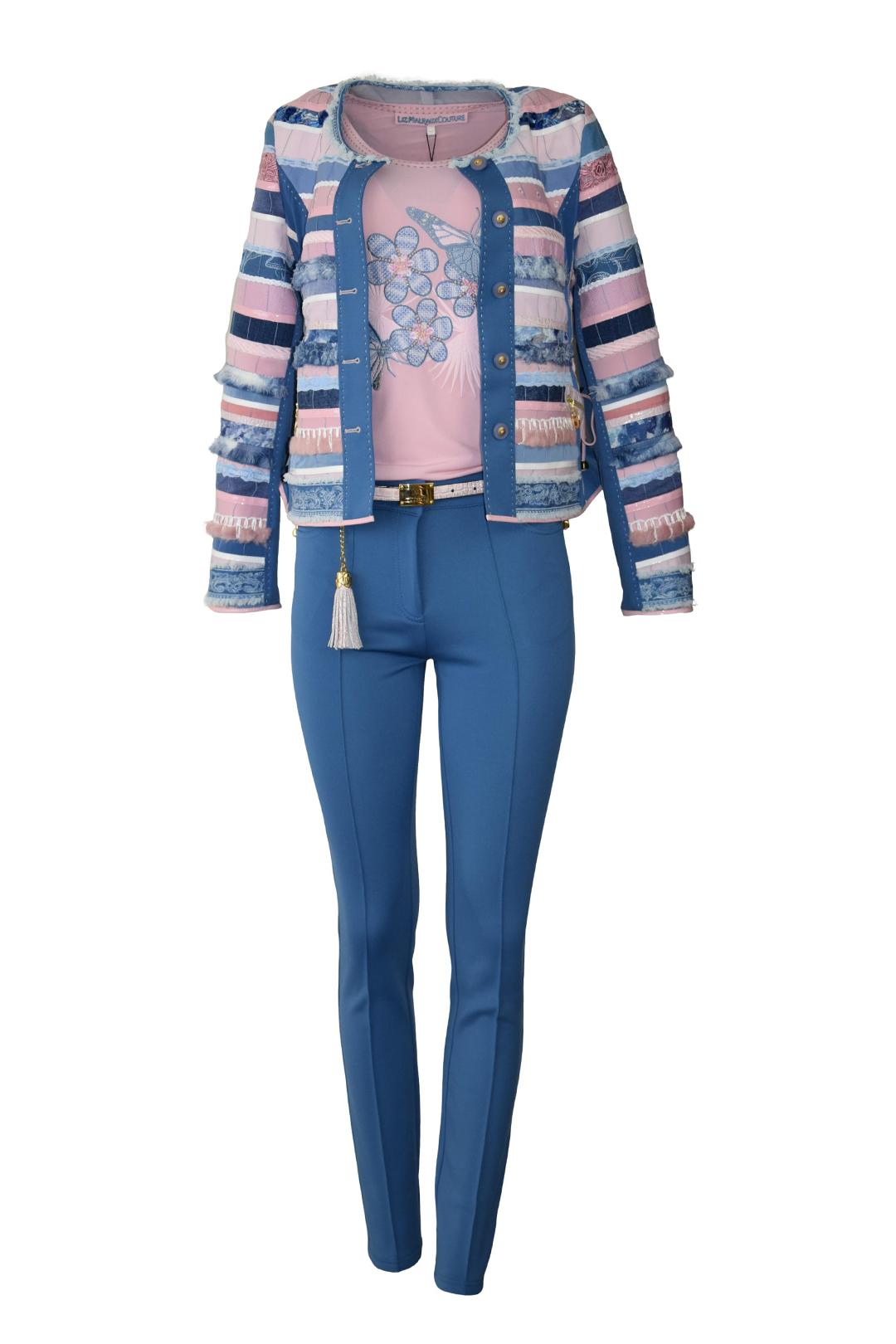 Jacke mit Bordüre und Taschen, handgewebter Stoff