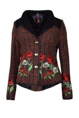 """Jacke reine Seide handgewebt mit """"summer meadow""""-embroidery auf Stoff und Leder"""
