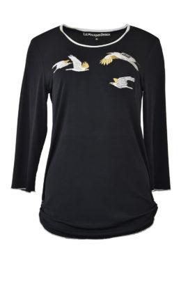 """Shirt mit """"crow-embroidery"""", Kontrast Einfassung, Langarm"""