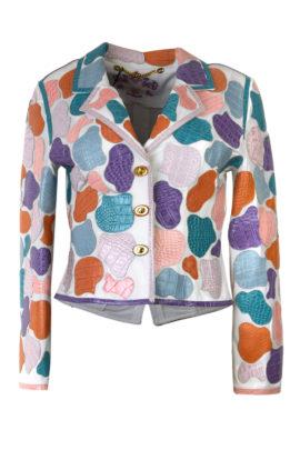 """Krokoblazer"""" summer colours"""", weiß mit Patches in Pastel"""