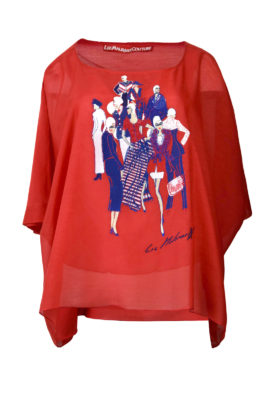 """Butterfly-Bluse, Baumwolle & Seide, mit eingearbeitetem Top, """"fashion-embroidery"""""""