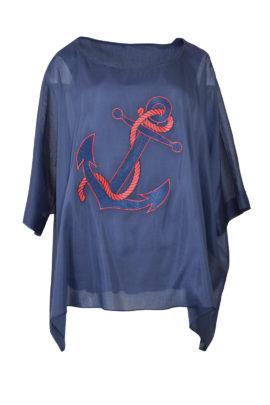 """Butterfly-Bluse mit """"maritim-embroidery"""" und eingearbeitetem Seidentop"""