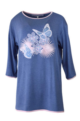 "Longshirt, mit ""tropical dream-embroidery"", Viskose, Langarm"
