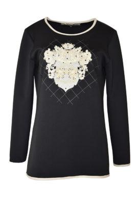 """Pulli, Double-Jersey mit """"heraldic embroidery""""und Swarovski-Kristallen, Langarm"""