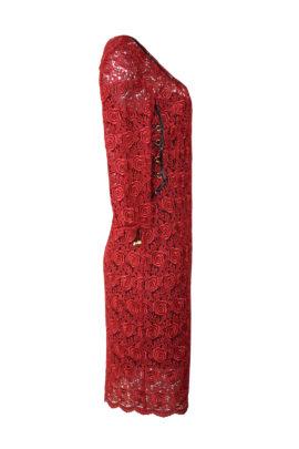 Kleid, Spachtelspitze mit Lackkontrasten, gekettelten Dekoltee & Korsagen-Unterkleid