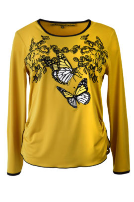 """Shirt mit """"mini leaves und butterfley-embroidery"""", Langarm"""