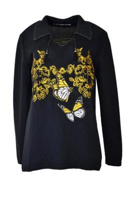 "Pulli 100% Baumwollle mit ""mini leaves und butterfley-embroidery"""