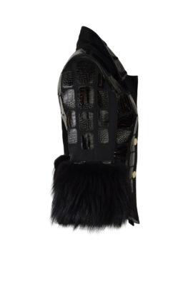 Krokojacke mit Couture-Kragen und Langhaarfuchs -Armstulpen, Multisize