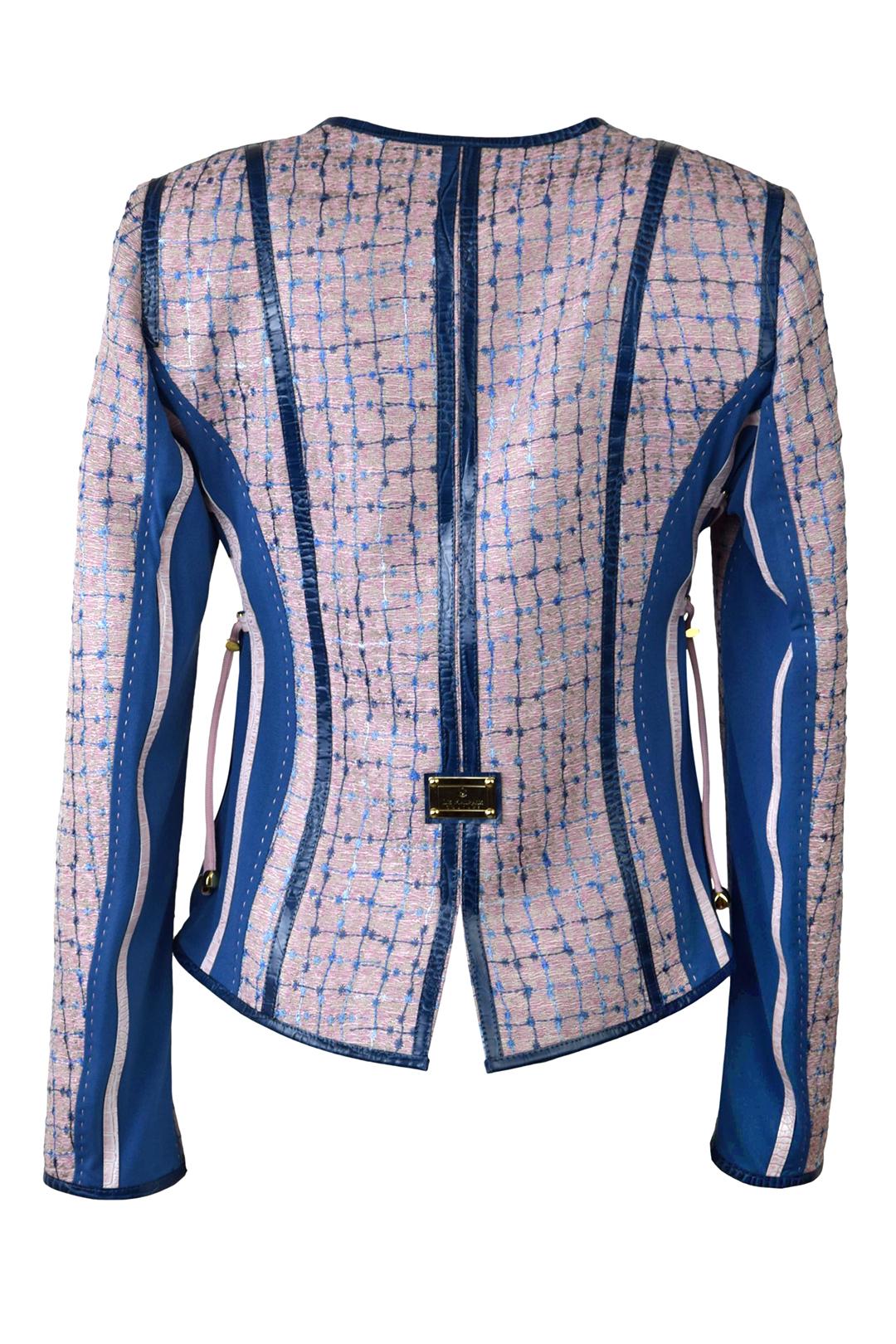 Jacke, besticktes Boucle mit Lackkontrasten und aufgesetzten Taschen, Multisize