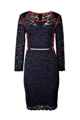Kleid mit eingearbeitetem Unterkleid, Lackkontrasten, elastische Spitze, Langarm