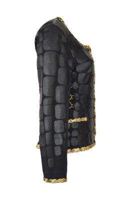 Jacke mit Nappalederpatches und gestickter Kettenbordüre in multicolor, Patches: ab 151 Stück, embroidery: 114.000 stitches