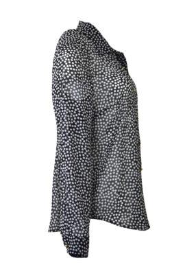 Bluse mit Tupfen Print, Crepe, Langarm