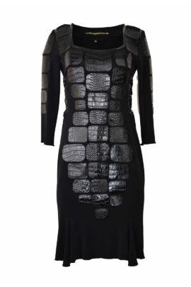 Kroko-Kleid mit Lack mit Godetfalten, multisize