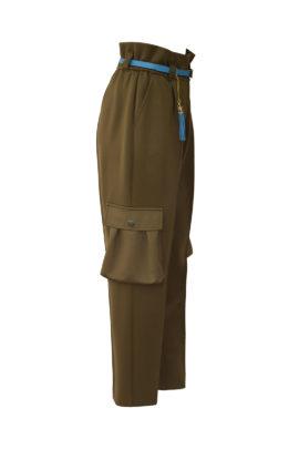 Cargo-Hose mit hoher Taille, Taschen, Länge 108 cm