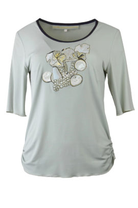 "Shirt mit ""still life fruit-embroidery"", Kurzarm"