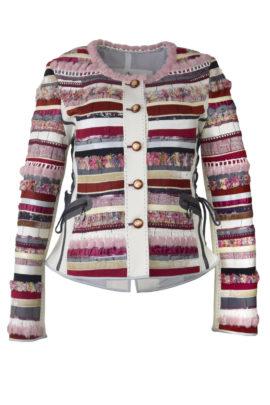 Jacke mit Bordüre und Taschen, handgewebter Stoff, multicolor