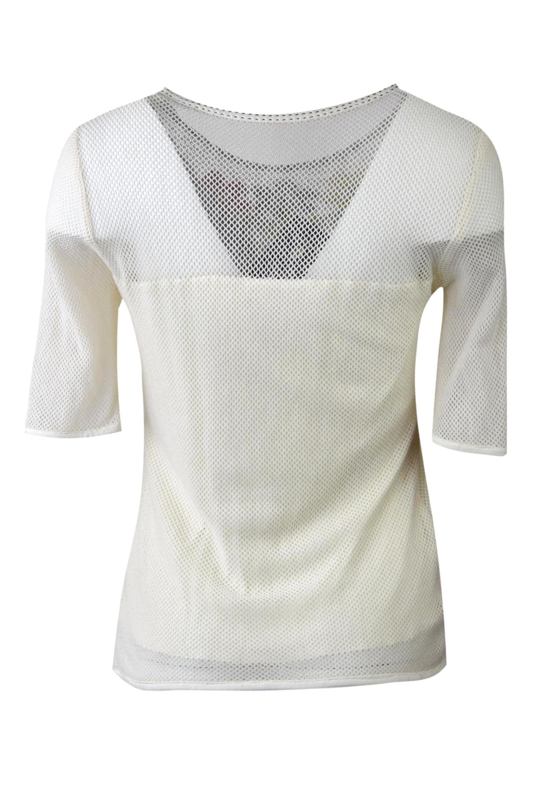 Shirt mit Netzoptik und applizierten Blumen in Multikolor, Kurzarm
