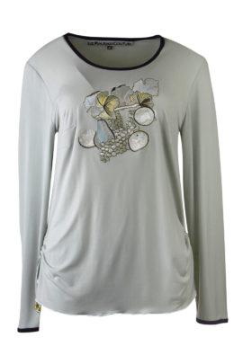 "Shirt mit ""still life fruit-embroidery"", Langarm"