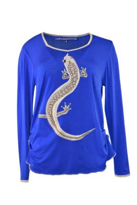 """Shirt mit """"salamander-embroidery"""" und Swarovski Kristallen, Langarm, Stitches: 55340"""