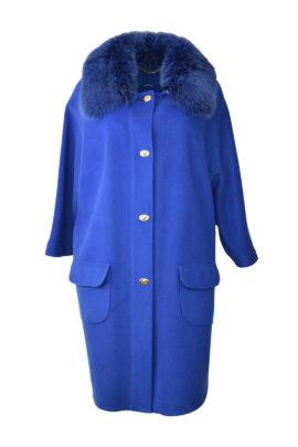 Mantel mit einem abnehmbaren Fuchskragen, Jaquard Futter, Sicherheitstasche, Merino & Kaschmir