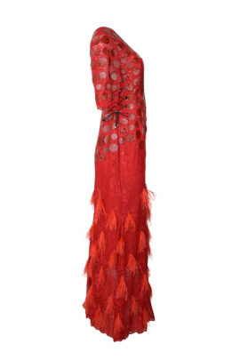 """Abendkleid mit """"animal-embroidery"""", elastische Spitze mit Krokopatches und Straußenquasten, Swarovski Kristallen"""