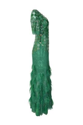 Abendkleid, elastische Spitze, mit Krokopatches, Straußenfederquasten und Swarovski Kristallen