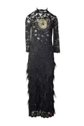 """Abendkleid mit """"animal-embroidery"""", elastische Spitze mit Krokopatches, Stehkragen, Langarm"""
