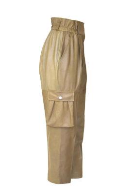 Leder-Cargohose mit Trekkingtaschen und hohen Bund, Gürtelschlaufen