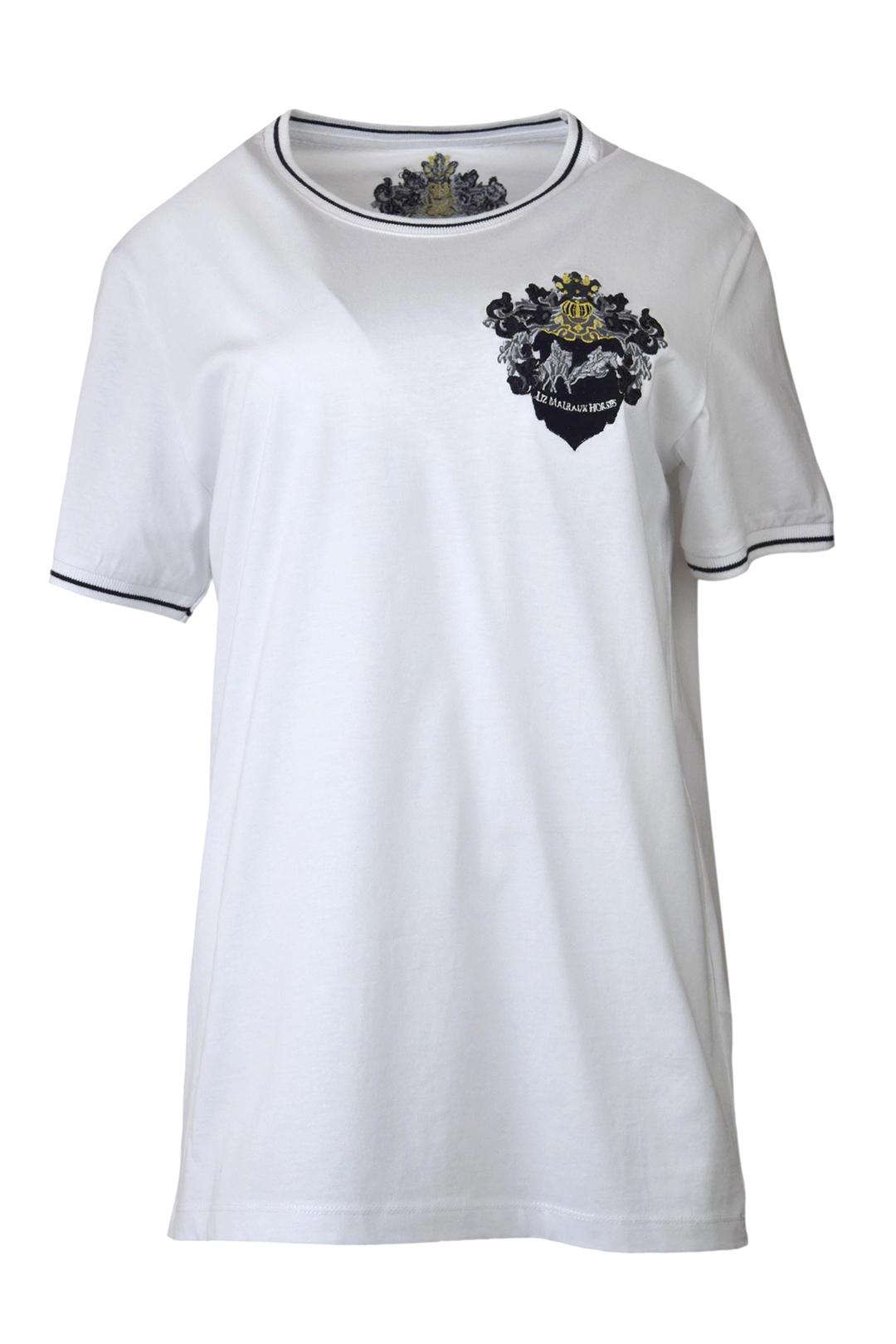 """Shirt mit Kontrasten, """"Liz Malraux Horses-embroidery"""", Baumwolle, Kurzarm"""